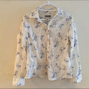 NWOT Route 66 cream and blue floral top